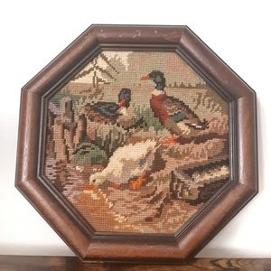 Vintage 1995 Duck Needlepoint in Wood Frame